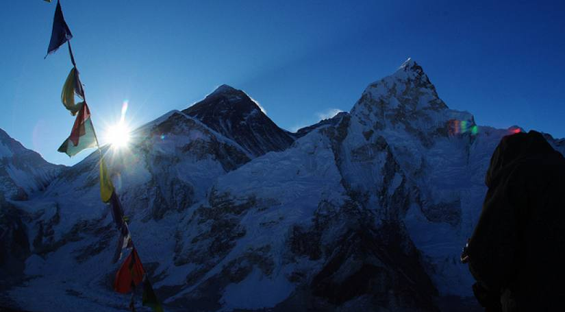 Mt. Everest (Left), Mt. Luptse(Right) and Mt Lhotse (Right to Everest and Behind Luptse)